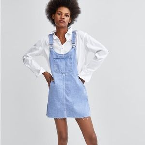 Zara Denim Pinafore Dress